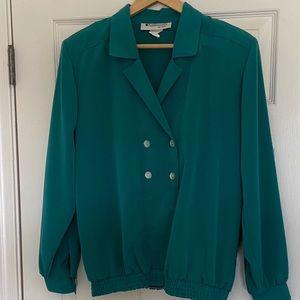 Med Appleseed's elastic waist emerald green blouse
